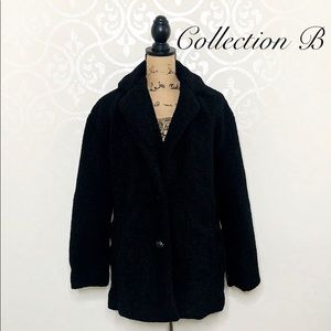 COLLECTION B BLACK TEDDY FAUX FUR JACKET MEDIUM